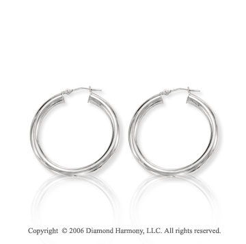 14k White Gold Hinge Post 4mm Medium Hoop Earrings