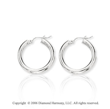 14k White Gold 1 inch, 4mm Small Hoop Earrings