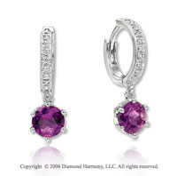 14k White Gold Round Amethyst Drop Diamond Earrings