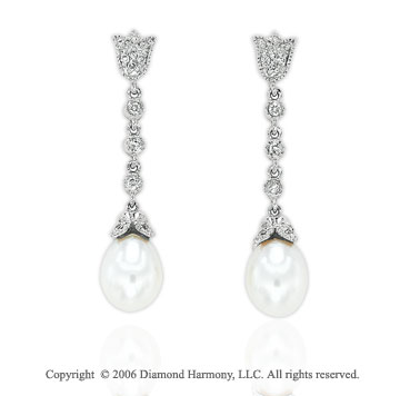 14k White Gold Milgrain Pearl Drop 1/6  Carat Diamond Earrings