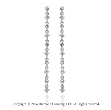 14k White Gold Bezel Prong Drop 1/5  Carat Diamond Earrings