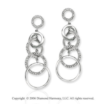 14k White Gold Five Loop Drop Diamond Earrings