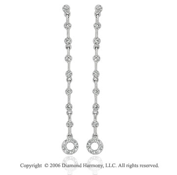 14k White Gold Stem Circle Drop 1/4  Carat Diamond Earrings