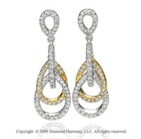 14k Two Tone  Gold Prong Teardrop 0.80  Carat Diamond Earrings