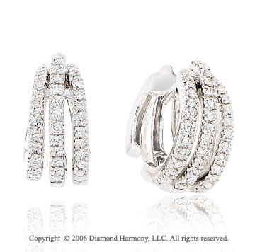 14k White Gold 3 Loop Huggie 1/2 Carat Diamond Earrings