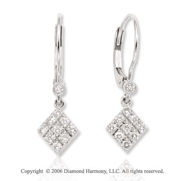 14k White Gold Prong Bezel Drop 1/4  Carat Diamond Earrings
