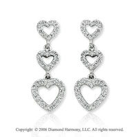 14k White Gold Triple Heart Drop 1/3 Carat Diamond Earrings