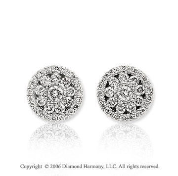 14k White Gold Prong Bezel Stud 4/5  Carat Diamond Earrings