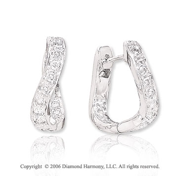 14k White Gold Twisting Huggie 0.40 Carat Diamond Earrings