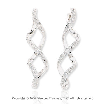 14k White Gold Spiral Drop Pave 3/5  Carat Diamond Earrings