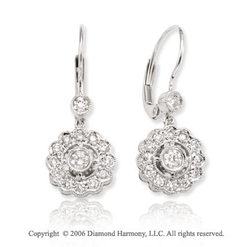 14k White Gold Milgrain Bezel Drop 3/5  Carat Diamond Earrings