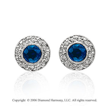 14k White Gold Round Blue Sapphire Diamond Stud Earrings