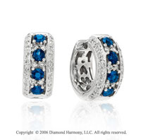 14k White Gold Blue Sapphire Huggie Diamond Earrings