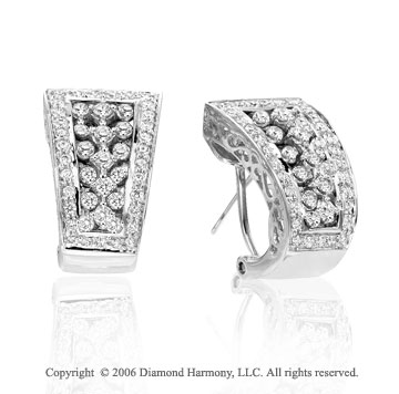 14k White Gold Omega Pave Prong Huggie 1.85  Carat Diamond Earrings