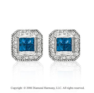 14k White Gold Princess Blue Sapphire Stud Diamond Earrings