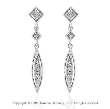 14k White Gold Milgrain Stiletto Drop Diamond Earrings