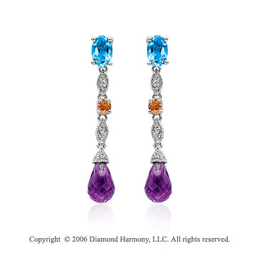 14k White Gold Amethyst Topaz Citrine Drop Diamond Earrings