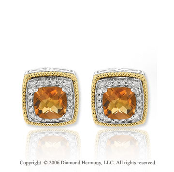 14k Two Tone  Gold Rope Citrine Cushion Diamond Stud Earrings