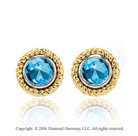 14k Two Tone Gold Rope Bezel Stud Blue Topaz Earrings