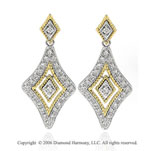 14k Two Tone  Gold Milgrain Rope Drop 2/5  Carat Diamond Earrings