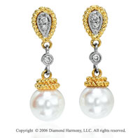 14k Two Tone  Gold Milgrain Rope Pearl Drop Diamond Earrings