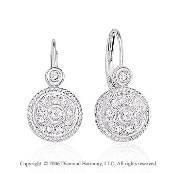 14k White Gold Rope Drop 2/5 Carat Diamond Earrings