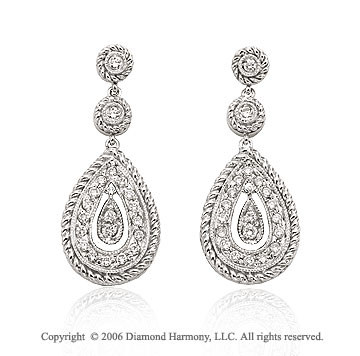 14k White Gold Rope Teardrop 1/3 Carat Diamond Earrings