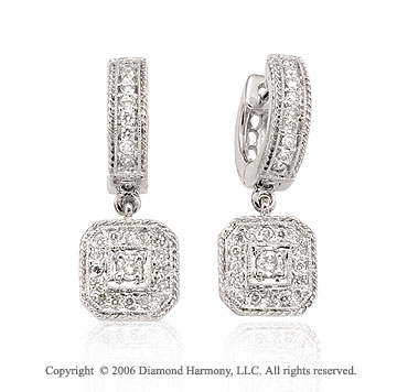 14k White Gold Rope Huggie Drop 1/2 Carat Diamond Earrings