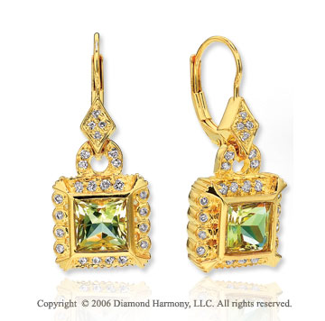 14k Yellow Goldold Drop Princess Lime Quartz Diamond Earrings