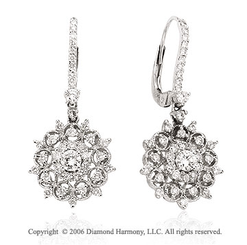 14k White Gold Sunburst Drop 1.20  Carat Diamond Earrings