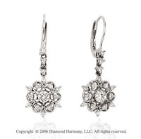 14k White Gold Flower Drop 0.40 Carat Diamond Earrings