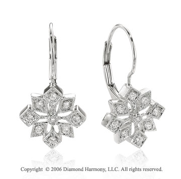 14k White Gold Starburst Drop 1/4  Carat Diamond Earrings