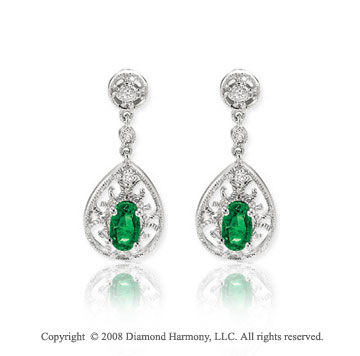14k White Gold Filigree Oval Emerald Drop Diamond Earrings