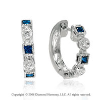 14k White Gold Princess Blue Sapphire Diamond Earrings