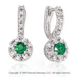 14k White Gold Round Emerald Drop Diamond Earrings