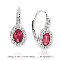 14k White Gold Oval Ruby Prong Drop Diamond Earrings