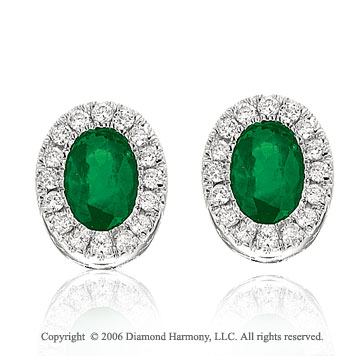 14k White Gold Oval Emerald Prong Stud Diamond Earrings
