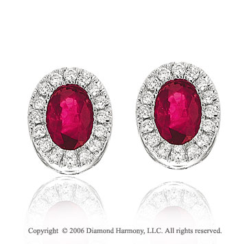 14k White Gold Oval Ruby Prong Stud Diamond Earrings