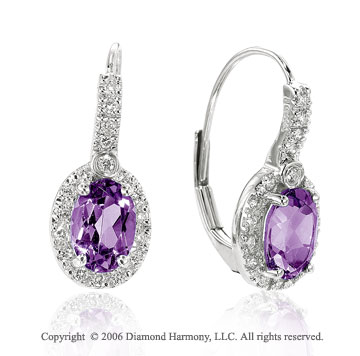 14k White Gold Oval Amethyst Drop Diamond Earrings