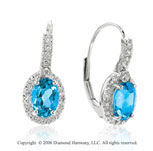 14k White Gold Oval Blue Topaz Drop Diamond Earrings