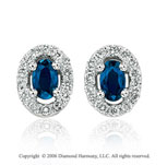 14k White Gold Oval Blue Sapphire Stud Diamond Earrings