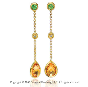 14k YG Drop Lime Quartz Pear Citrine Diamond Earrings