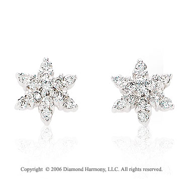 14k White Gold Starfish Stud 1/3 Carat Diamond Earrings