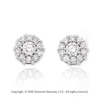 14k White Gold Round Prong Stud 1/2 Carat Diamond Earrings