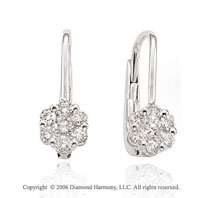 14k White Gold Floral Drop 1/2 Carat Diamond Earrings