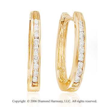 14k Yellow Gold Channel Huggie 0.40  Carat Diamond Earrings