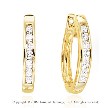 14k Yellow Gold Channel Huggie 0.35  Carat Diamond Earrings
