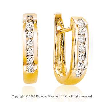 14k Yellow Gold Channel Huggie .20  Carat Diamond Earrings