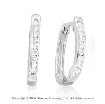 14k White Gold Channel Huggie 1/5  Carat Diamond Earrings