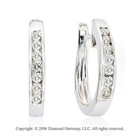 14k White Gold Channel Huggie 0.35  Carat Diamond Earrings